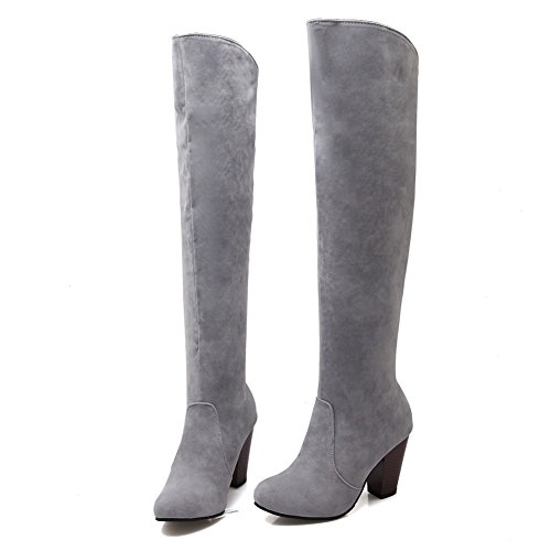 BalaMasa Ladies Chunky Heels Solid Fashion Cone-Shape Heel Frosted Boots Gray 0788Qj8c