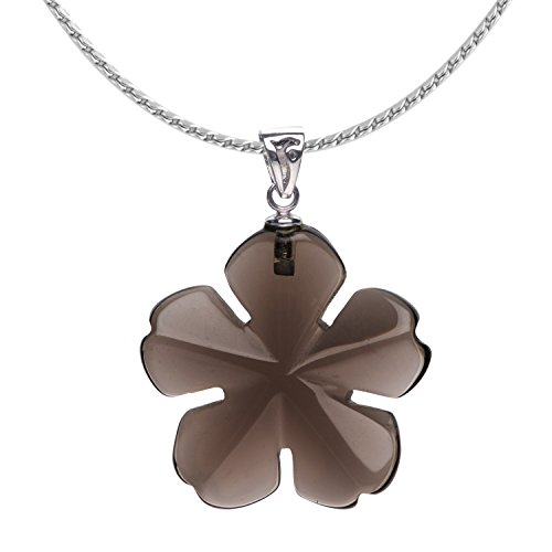 iSTONE Unisex Healing Gemstone Necklace Smoky Quartz Five Leaf Clover Stones Crystals Pendant Necklace with Chain 18