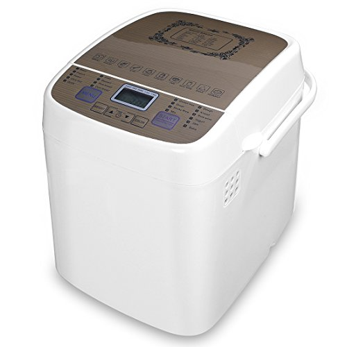 White bread machine with a with all sorts of settings and options.