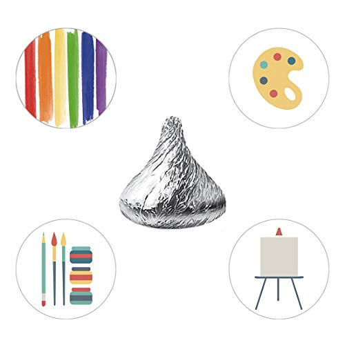 (MAGJUCHE Art Paint Candy Stickers, Boy Girl Painting Themed Kids Birthday Party Favor Labels, Fit Hershey's Kisses, 304)