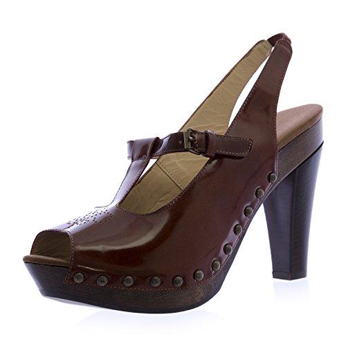 Emporio Armani Women's Peep Toe Slingback Heeled Clogs 9.5 Brown