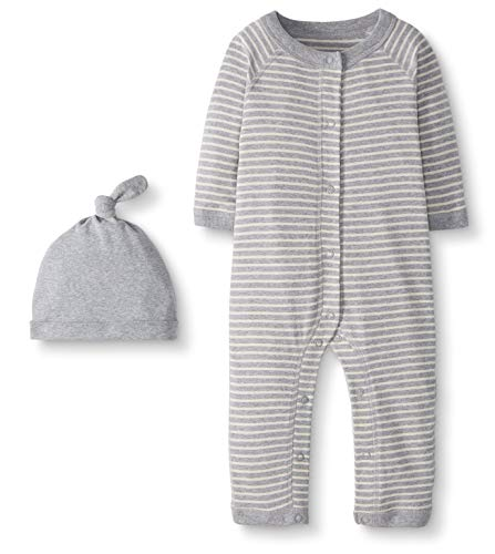 Moon and Back by Hanna Andersson Baby Snap Front One-Piece Organic Cotton Long Sleeve Romper with Cap Set, Heather Gray, Newborn