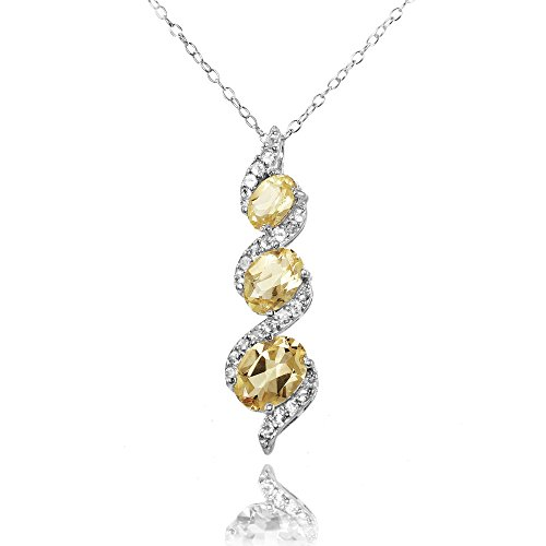 (Ice Gems Sterling Silver Citrine and White Topaz Oval S Design Three-Stone Journey Necklace)