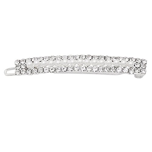 Rosemarie Collections Women's Lovely Simulated Pearl and Crystal Hair Clip