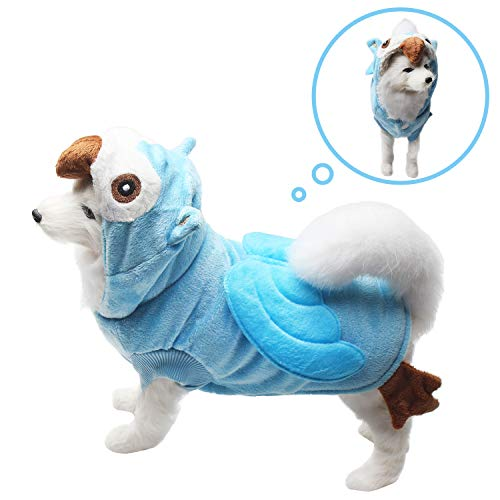 Neodot Dog Cosplay Pet Owl Shape Costume Halloween Dog Outfits Dog Pajamas Hoodie Cold Weather Coat for Autumn to Winter (XL, Blue) -