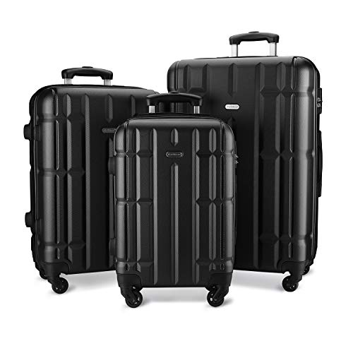 SHOWKOO Luggage Sets Suitcase Spinner Lightweight Durable for Travels 20in 24in 28in(Black)