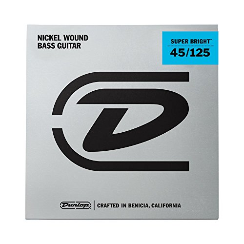 Dunlop DBSBN45125 Super Bright Bass Strings, Nickel Wound, Medium, .045–.125, 5 Strings/Set