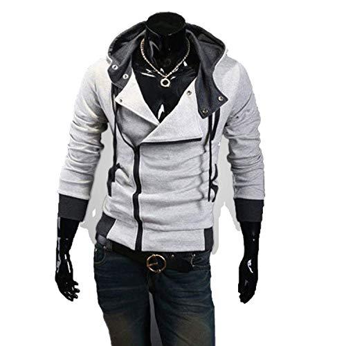 2018 Casual Cardigan Men Hoodie Sweatshirt Long Sleeved Slim Fit Male Zipper Hoodies Assassins Creed Jacket Plus Size M-6XL,Medium,LightGray ()