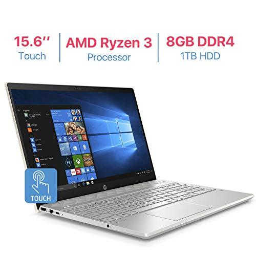 HP Pavilion 15.6'' Touchscreen HD WLED-Backlit Display Laptop, AMD Ryzen 3 2200U 2.5GHz Processor, AMD Radeon Vega 3 Graphics, 8GB DDR4 RAM, 1TB HDD, HDMI, Bluetooth, B & O Play, Windows 10 - Gold (Laptop Hp Audio Beats Pavilion)
