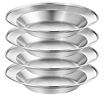 Picnic Stainless Steel Plate Set 8.5 inch Ultra-Portable Dinnerware Set BPA Free Plates for Outdoor Camping Beach Wealers BBQ Hiking