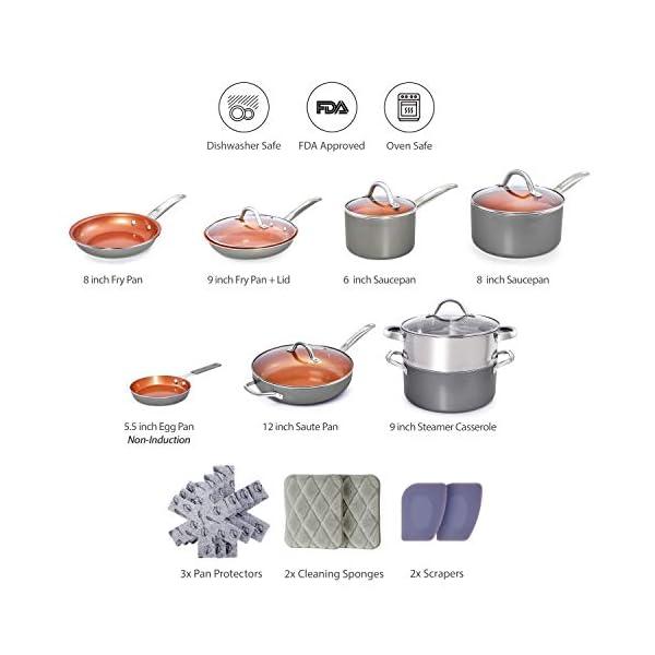 Home Hero Copper Pots and Pans Set - 13pc Copper Cookware Set Copper Pan Set Ceramic Cookware Set Ceramic Pots and Pans… 2