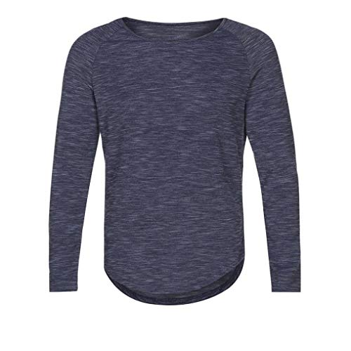 vermers Clearance Deals Fashion Men's Slim Long Sleeve T Shirt - Mens Casual O-Neck Solid Tops Blouse(XL, Navy) by vermers