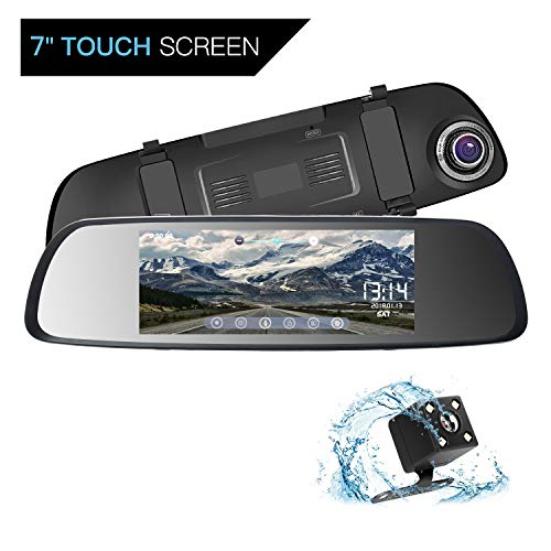 ILIHOME Mirror Dash Cam, 7 inch Touch Screen 1080P Dual Lens Dash Cam with 6G Lens Front Cam and Waterproof Rear Cam, Night Vision, WDR, Loop Recording, G-Sensor, Parking ()