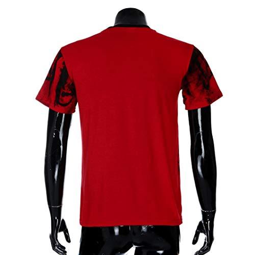 Deelin Tops Casual Hommes Tee Imprimer Courtes D'été Rouge Muscle Slim De shirts Blouse T À Manches Fit Mode pSnxpqr