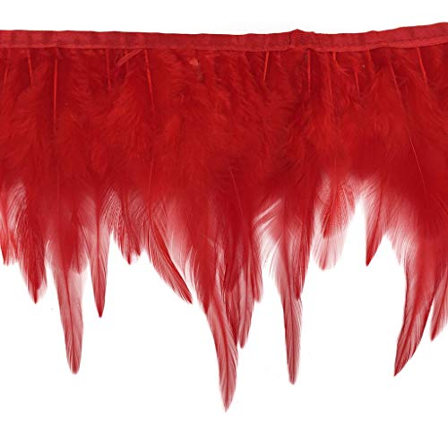 Shekyeon 2yards Rooster Hackle Feather Trim Dress Decoration(red) (Feather Dress Trim)