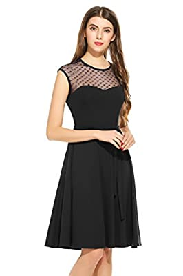 Goldenfox Womens Mesh Patchwork Neck Sleeveless Hollow Out Back Party Swing Dress S-XXL