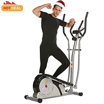 Elliptical Trainer Magnetic with LCD Monitor and Pulse Rate Grips Smooth Quiet Driven, Top Levels Elliptical Machine[US Stock]