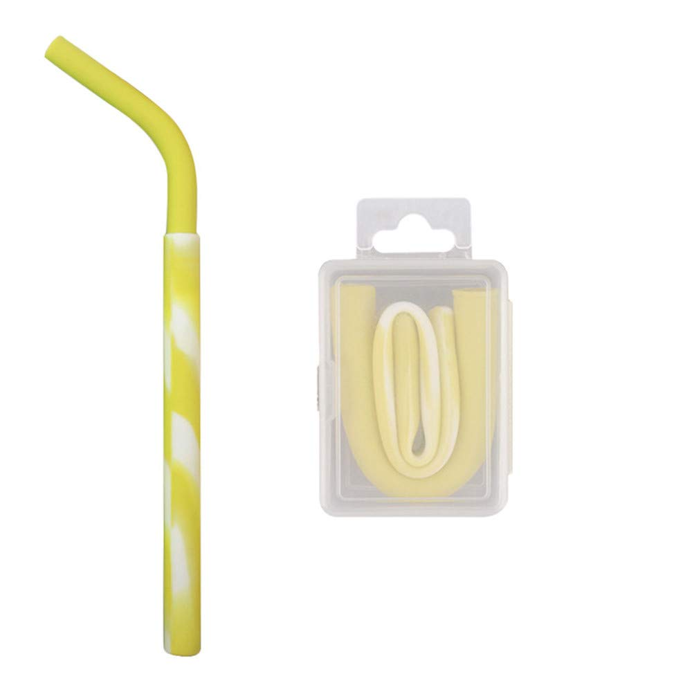 Connia Portable Reusable Washable Food Grade Silicone Drinking Bent Straws With Convenience Box (B❤Yellow)