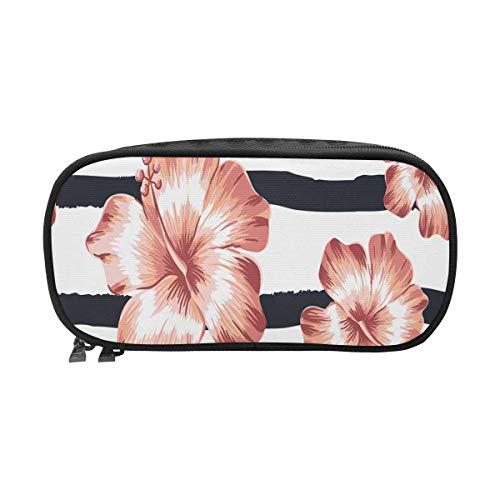 (InterestPrint Pink Hawaiian Hibiscus Flowers on Stripes Tropical Zipper Pencil Pouch Iron Zipper Bags for Cosmetics, Bills, Stationery)