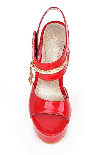 Femme Stylet Sandales Ouverture Velcro D'orteil Agoolar Rouge Couleur Unie Verni dwgc6Uq6