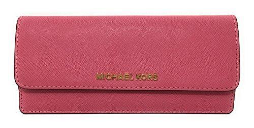Michael Kors Jet Set Travel Flat Saffiano Leather Wallet (Tulip) -