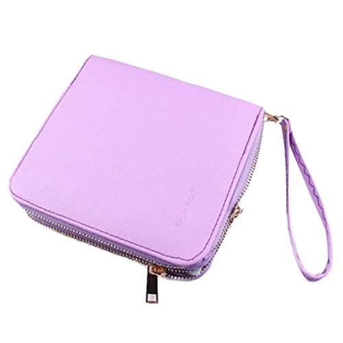 Sunsee Nail Art Image Stamping Plates Manicure Template Nail Art Tools Storage Bag (Purple)