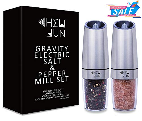 CHEW FUN Gravity Electric Salt and Pepper Grinder Set with Adjustable Coarseness Battery Powered Pepper and Salt Mill with Blue LED Light Brushed Stainless Steel