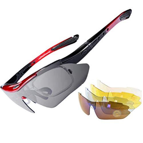 Polarized Cycling Glasses Interchangeable Lenses 100% UV Protection Sport Sunglasses Shatterproof Anti Scratch Non Slip Goggles Eyewear for Running Golf Fishing Hiking Baseball (1Pc)
