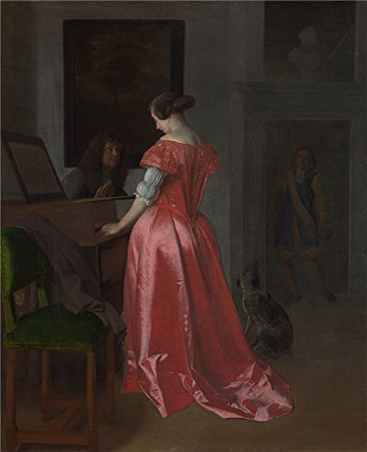 oil-painting-jacob-ochtervelt-a-woman-standing-at-a-harpsichord-a-man-seated-by-her-10-x-12-inch-25-