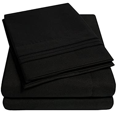 1500 Supreme Collection Bed Sheets - PREMIUM QUALITY BED SHEET SET & LOWEST PRICE, SINCE 2012 - Deep Pocket Wrinkle Free Hypoallergenic Bedding - Over 40+ Colors & Prints- 4 Piece, Full, Black