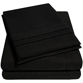 1500 Supreme Collection Extra Soft Full Sheets Set, Black - Luxury Bed Sheets Set with Deep Pocket Wrinkle Free Hypoallergenic Bedding, Over 40 Colors, Full Size, Black