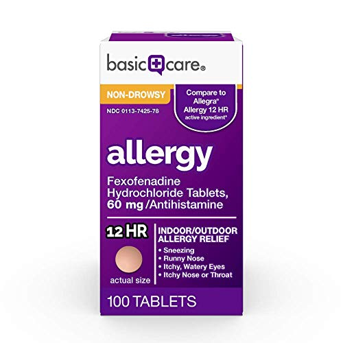 Basic Care Allergy Relief Fexofenadine Hydrochloride Tablets 60 mg, 100 Count