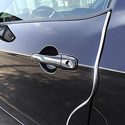 OtoLiman Full Size 5m 16feet Chrome Sticky Car Door Edge Scratch Guard Trim Molding Protector Cover U Shape Air Vent Edge Decoration