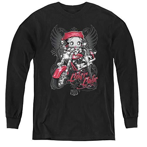 Betty Boop Biker Babe Youth Long Sleeve T Shirt, X-Large Black