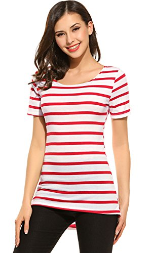 AmyFashion Women's Summer Casual Short Sleeve Striped Tee Shirt With High Low Hem