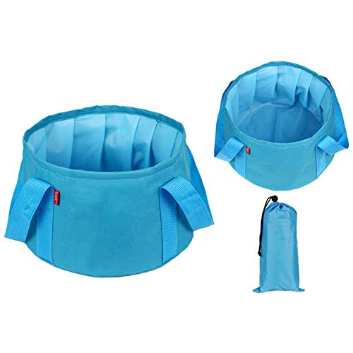 Homebetter Portable Folding Basin Folding Storage Travel Footbath Wash Bag Environmentally Friendly Durable 600D Oxford Cloth 12.20''x10.62''x7.87''Can Hold About 15L Water Folding Foot Bucket (Blue)