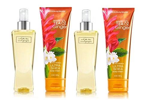 Bath and Body Works White Tea & Ginger Gift Set ~ 2 Full Size Ultra Shea Body Cream & 2 Full Size Fine Fragrance Mist