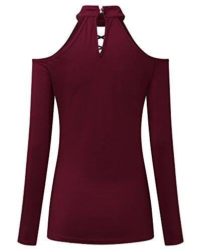 StyleDome Mujer Camiseta Blusa Mangas Largas Elegante Casual Cuello Halter Pico Fisura Burdeos
