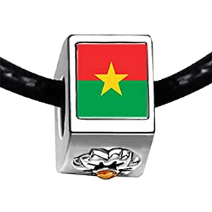 Chicforest Silver Plated Burkina Faso flag Photo Topaz Crystal November Birthstone Flower Charm Beads Fits Pandora Bracelets