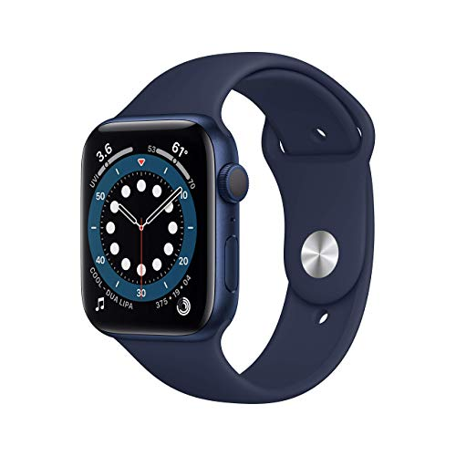 New Apple Watch Series 6 (GPS, 44mm) - Blue Aluminum Case with Deep Navy Sport Band (Renewed)