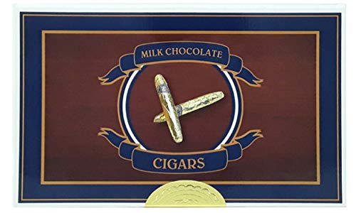 Madelaine Chocolates Gold Cigars Gift Box - Solid Milk Chocolate Cigars Wrapped In Italian Foil - 24 - Solid Gift Milk Box Chocolate