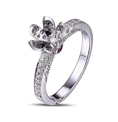 (GOWE 6.5mm Round 14K White Gold Natural Pave Set Diamond Semi Mount Setting Ring)