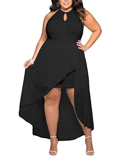 Lalagen Women's Plus Size Halter White Lace Wedding Party Dress Maxi Dress – 14-16 Plus, Black