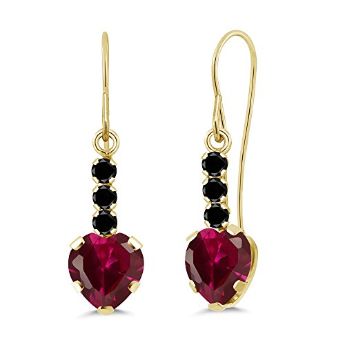 Gem Stone King 2.12 Ct Heart Shape Red Created Ruby Black Diamond 14K Yellow Gold ()