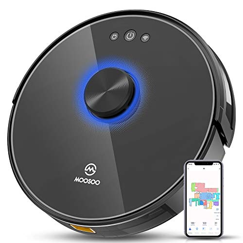 MOOSOO Robot Vacuum, Lidar Navigation SLAM Mapping, No-Go Zone Setting, Works with Alexa, Cleaning Schedule, In-situ Continuous Cleaning, Selective Room Cleaning, Robotic Vacuum for Floors, Carpets