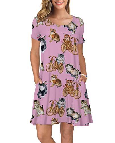 - ALISISTER Cat Dress Women Retro Tshirt Dresses Swing Adult Soft Hawaiian Summer Tropical Maxi Sundress Short Sleeve Beach Apparel with Pocket Lightweight Pink Medium
