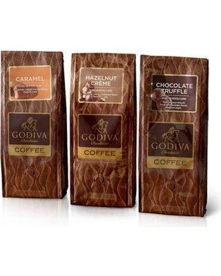 Godiva Chocolatier Coffee Set of 3, 10 Ounce Hazelnut Creme Chocolate Truffle Caramel Coffee