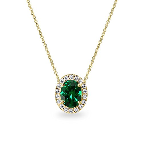 Yellow Gold Flashed Sterling Silver Simulated Emerald Oval Halo Slide Pendant Necklace with CZ -