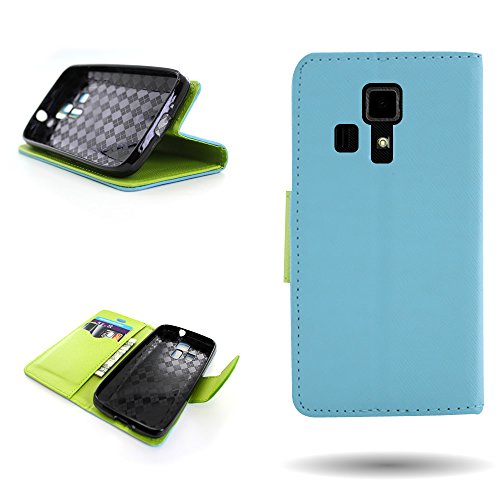 Kyocera Hydro Icon Wallet Phone Case and Screen Protector | CoverON (CarryAll) Pouch Series | Tough Textured Exterior (Light Blue / Neon Green) Flip Stand Cover with Credit Card and Cash Holder Slots for Kyocera Hydro Icon C6730 -  E1166-CO-KYC6730-VW1-BL230