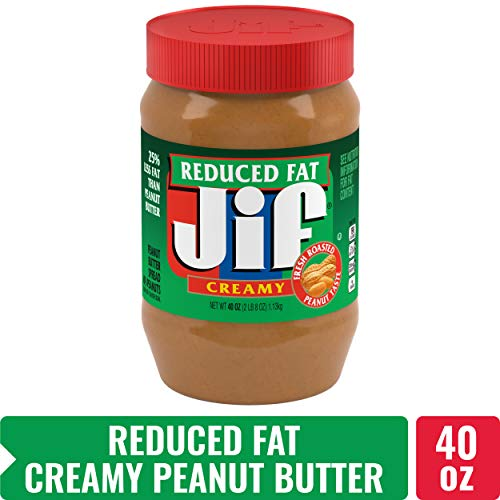 Jif Reduced Fat Creamy Peanut Butter, 40 oz. (8 Count) - 7g (7% DV)  of Protein per Serving, Smooth, Creamy Texture - No Stir Peanut - 8% Fat